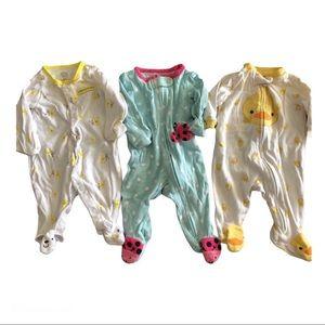 ALL 3 Newborn Onesies Pajamas Footed PJs Carter's